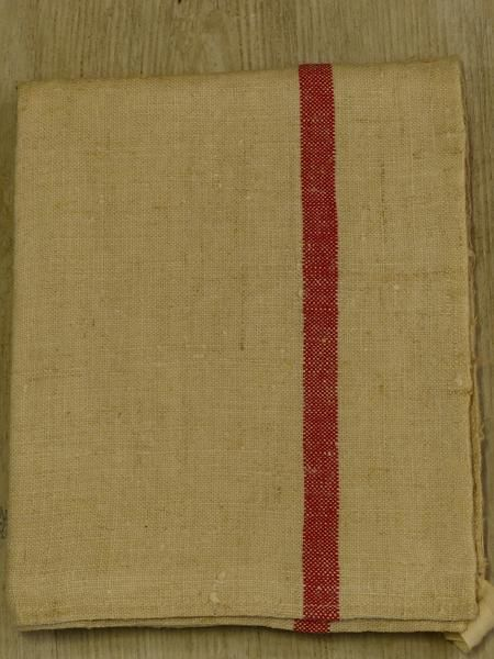 1 French Linen Tea Towel With Red Stripe 1920 S