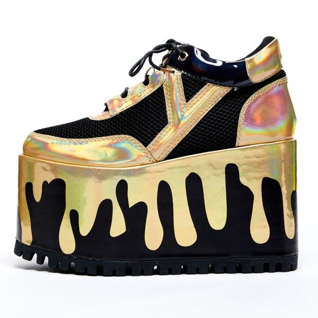 f72646c9791d7 YRU Qozmo Matrix, dripping Gold, platform sneakers | YRU | Spice ...