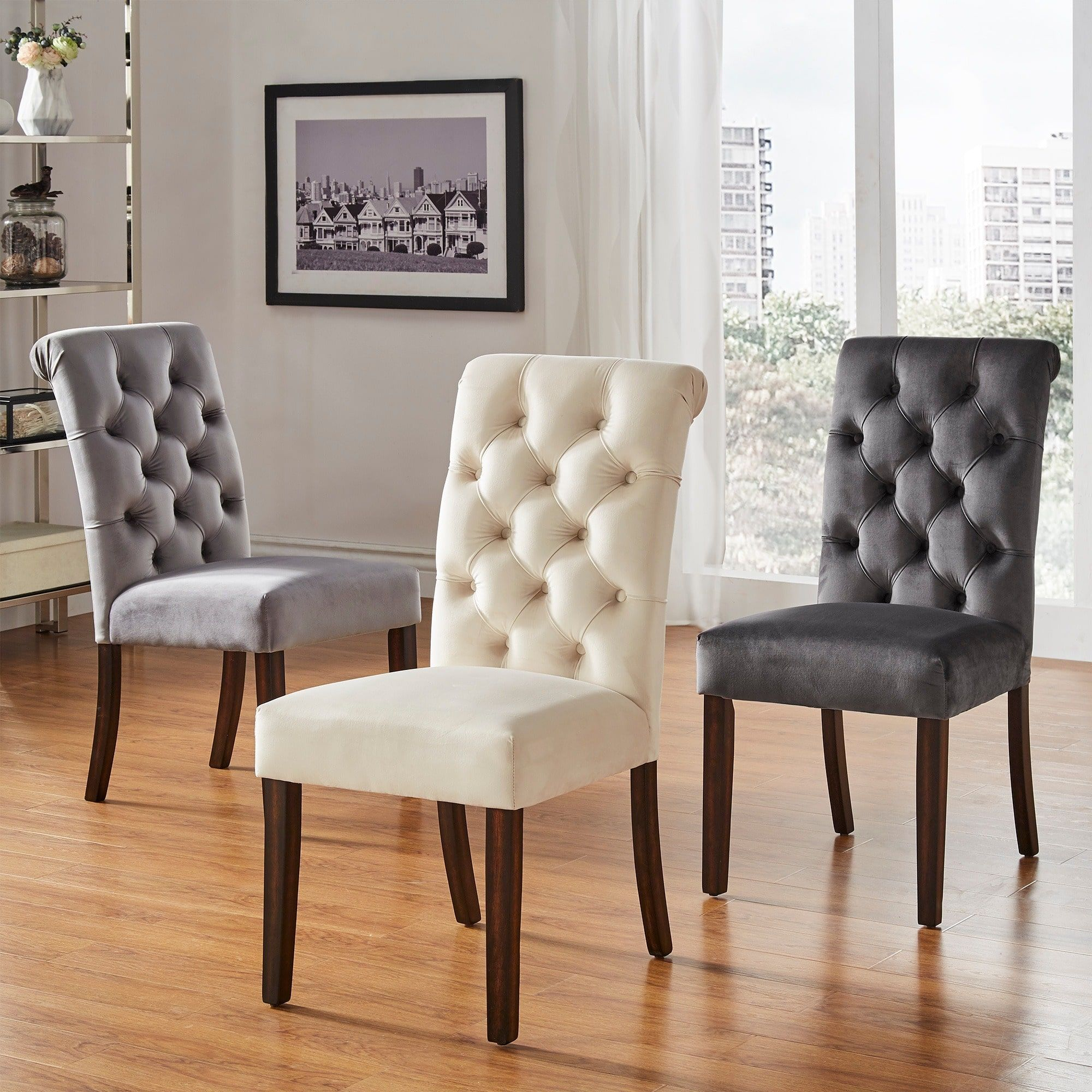 Benchwright Velvet Tufted Rolled Back Parsons Chairs by Inspire Q