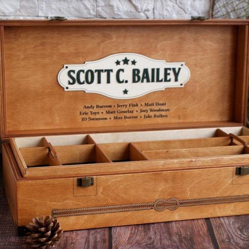 Customiized 100 handmade wood fishing tackle box mr