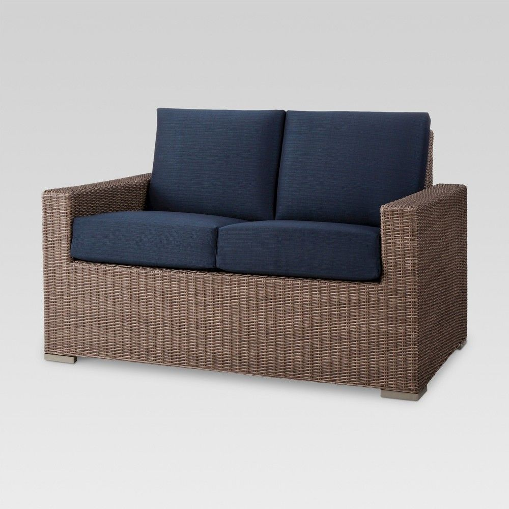Miraculous Heatherstone Wicker Patio Loveseat Navy Blue Threshold Pabps2019 Chair Design Images Pabps2019Com