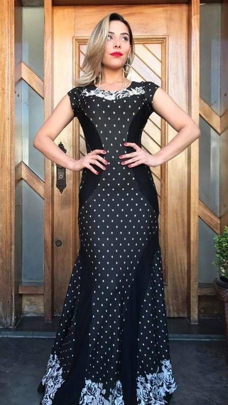 Vestido longo estampado viscolycra