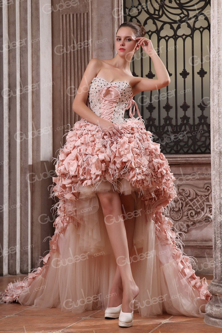 Luxury Taffeta High-low Strapless Sweetheart Beaded Prom Dress ...