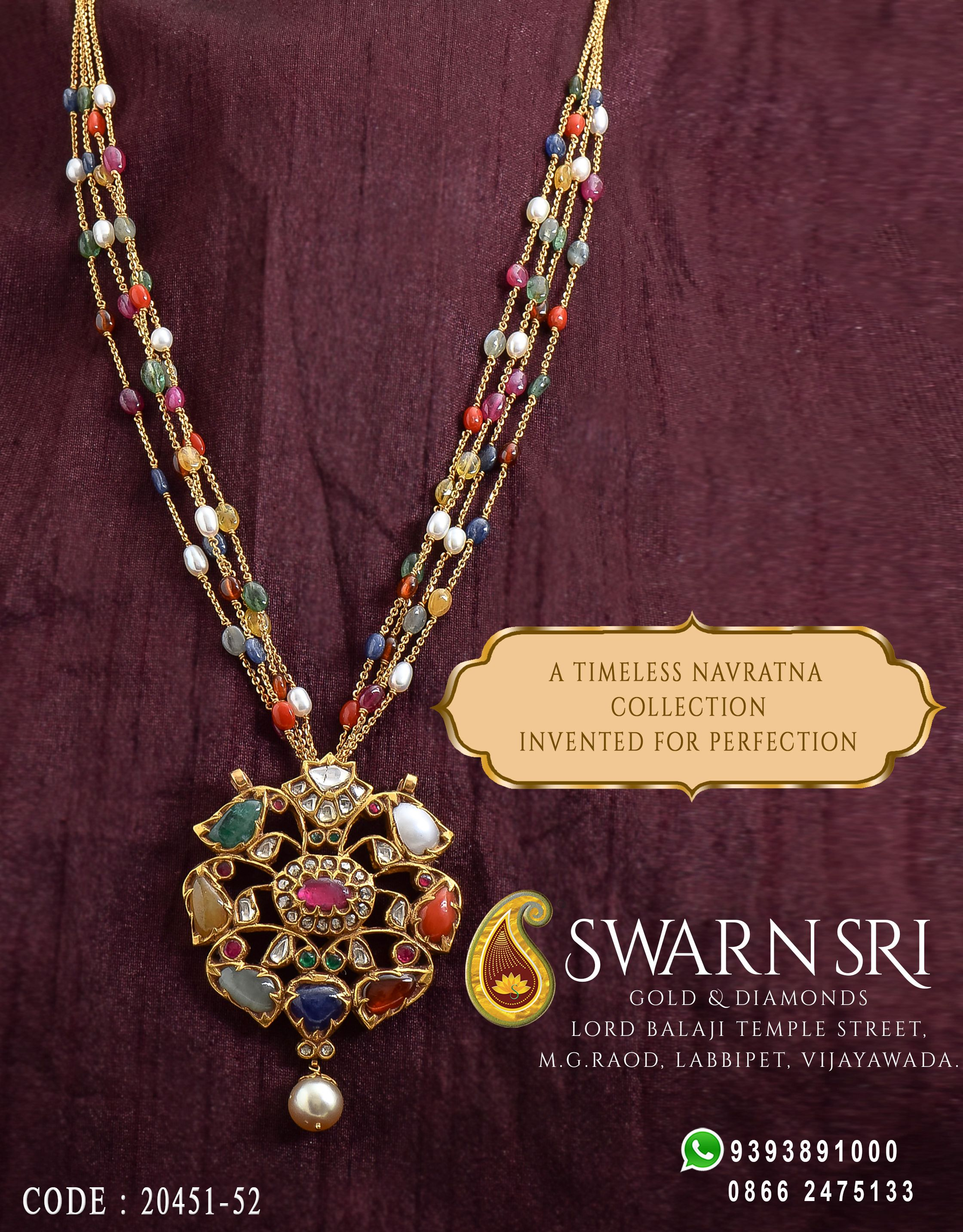 The timeless collections of navratna chains and pendants available