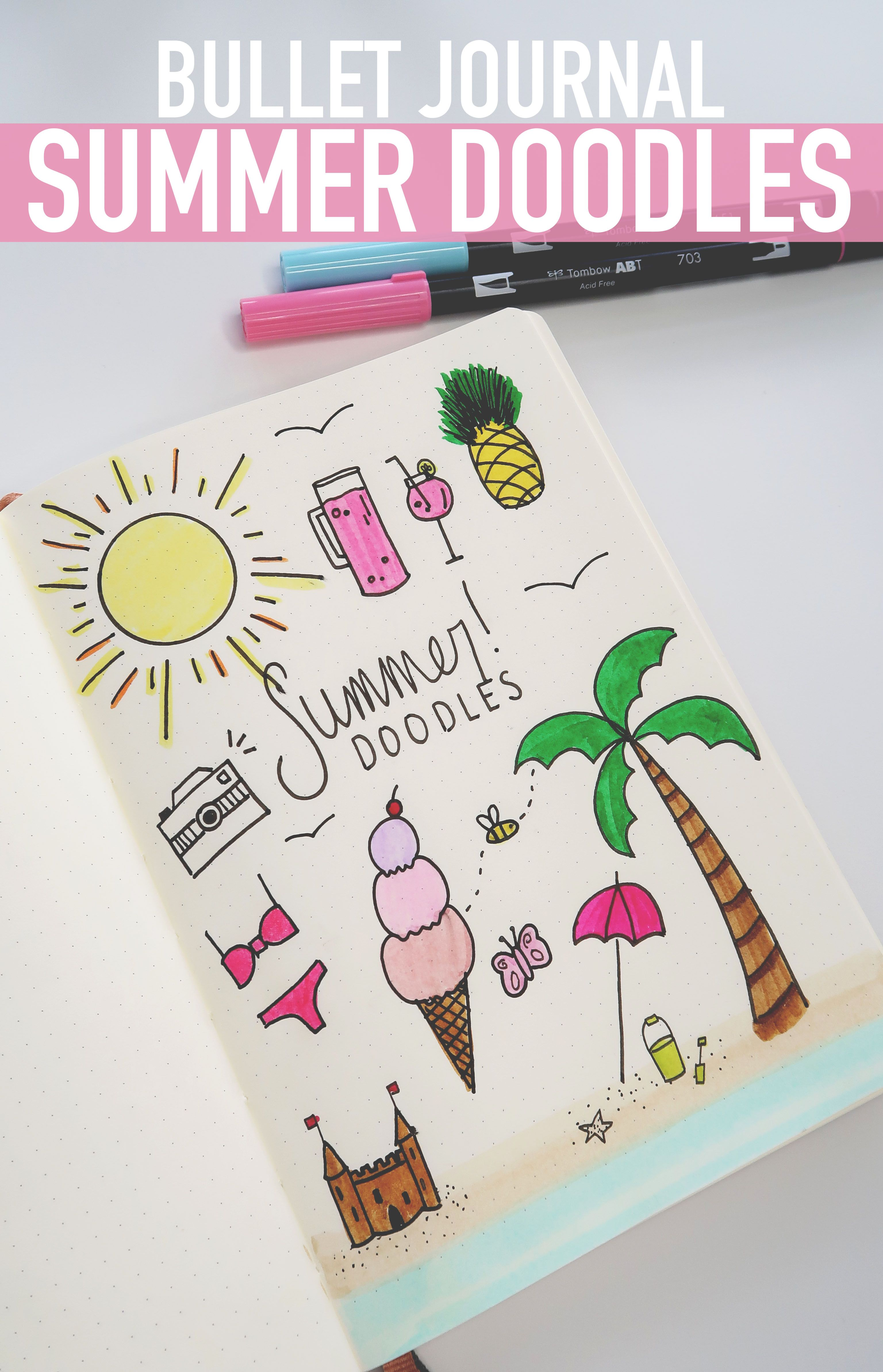bullet journal summer doodles how to doodle tutorial. Black Bedroom Furniture Sets. Home Design Ideas