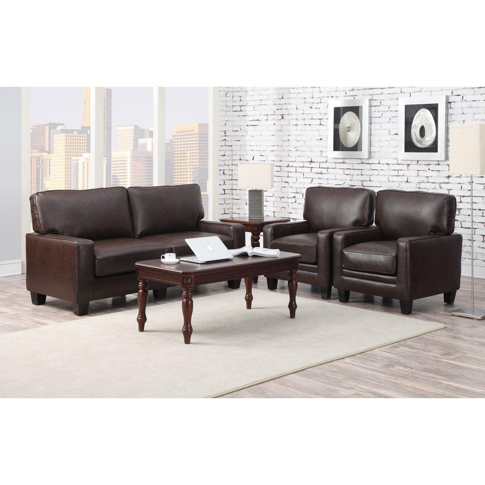 Serta RTA Monaco Collection 72-inch Brown Leather Sofa by Serta ...