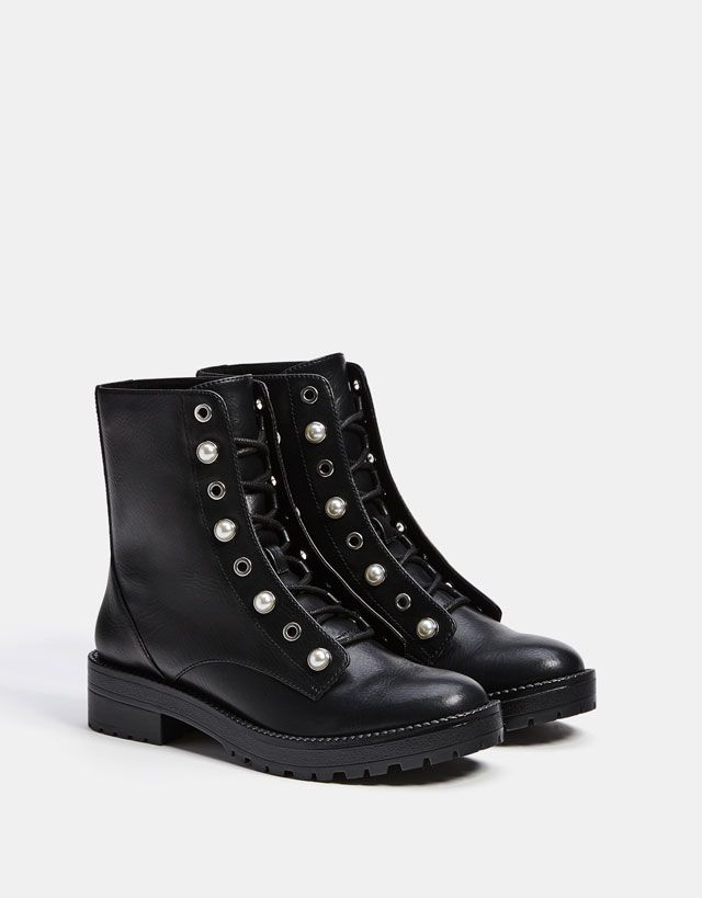 Lace-up ankle boots with faux pearls - Boots & Ankle boots - Bershka United  States