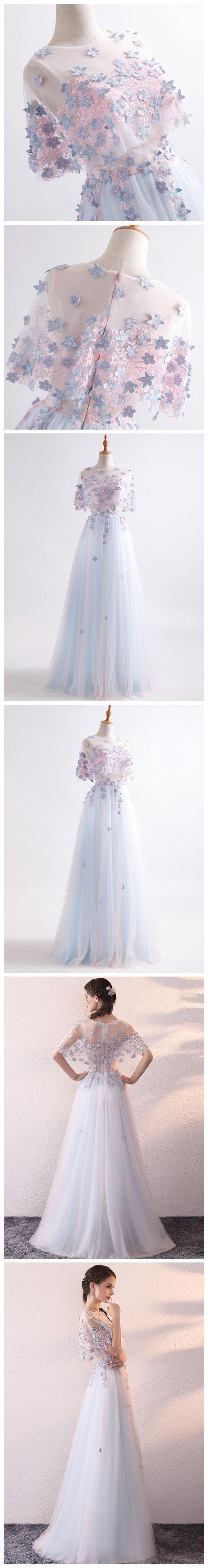Two piece prom dresses long chic blue scoop half sleeve tulle cheap