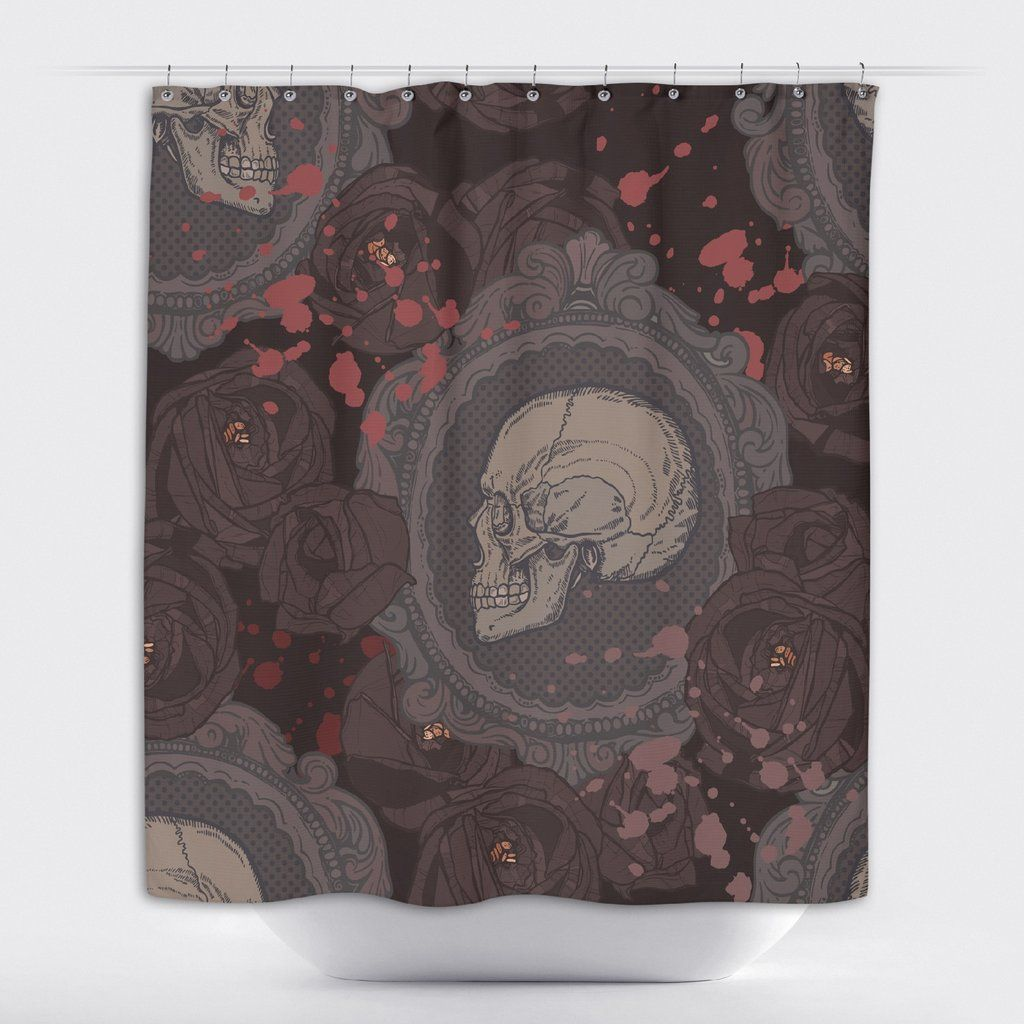 Cameo Skull Shower with Dark Roses Curtains and Bath Mats ...