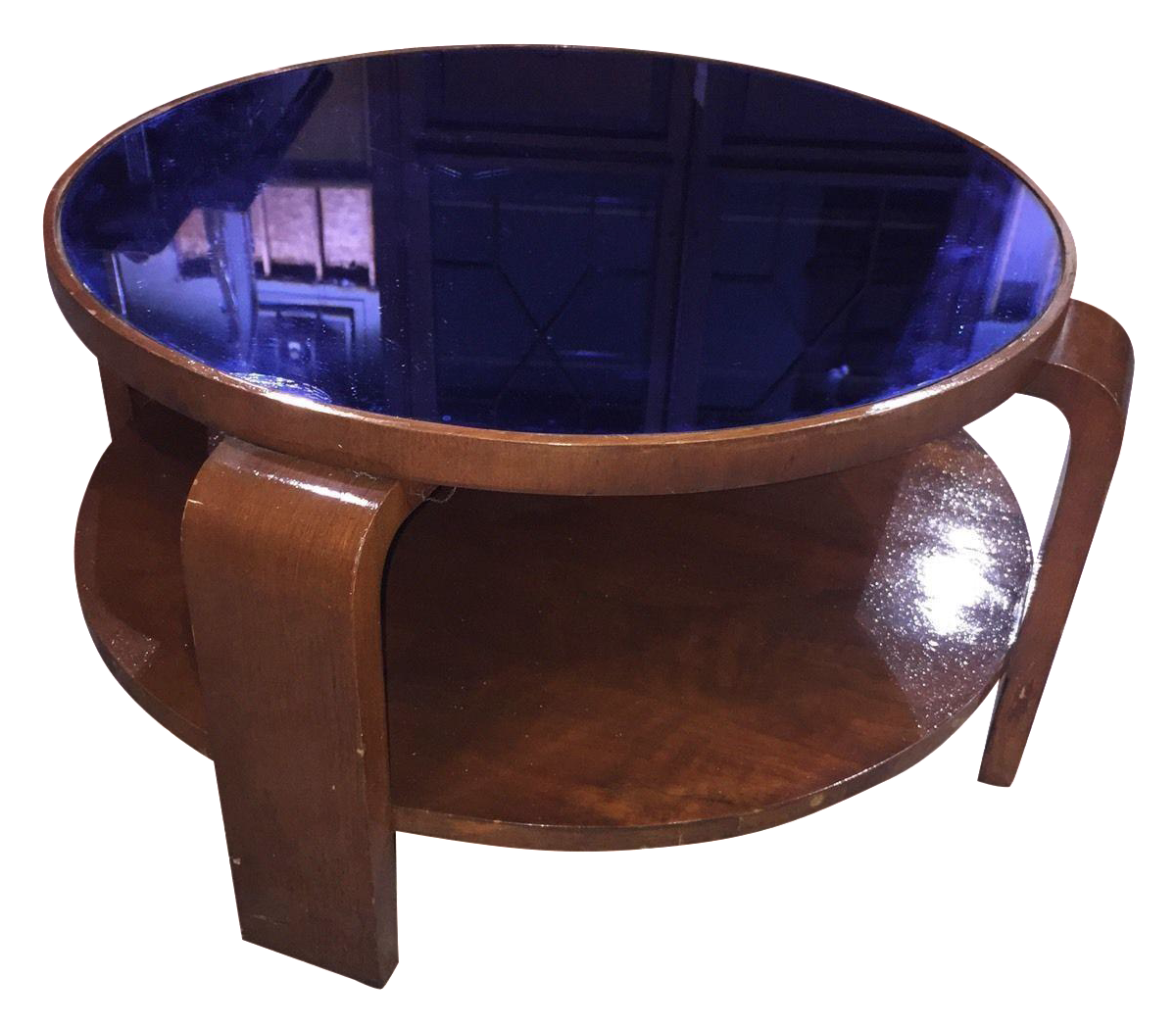 Captivating Round Mid Century Modern Table Featuring A Vivid Cobalt Blue Glass Top 15 1 4 H X 26 1 2 To Top X 30 1 Deco Decor Art Deco Lamps Art Deco Decor [ 1048 x 1200 Pixel ]