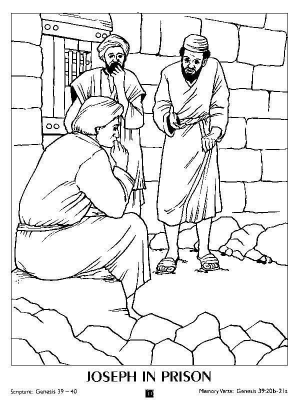 Coloring Page Joseph In Prison | Bible coloring pages ...
