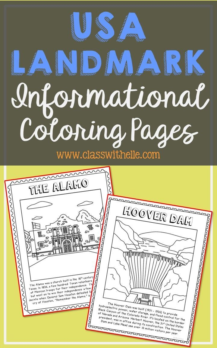 Usa Landmarks Coloring Pages Mini Books Bulletin Board Decor