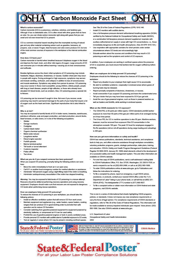 OSHA Carbon Monoxide Factsheet! Informs employees of key