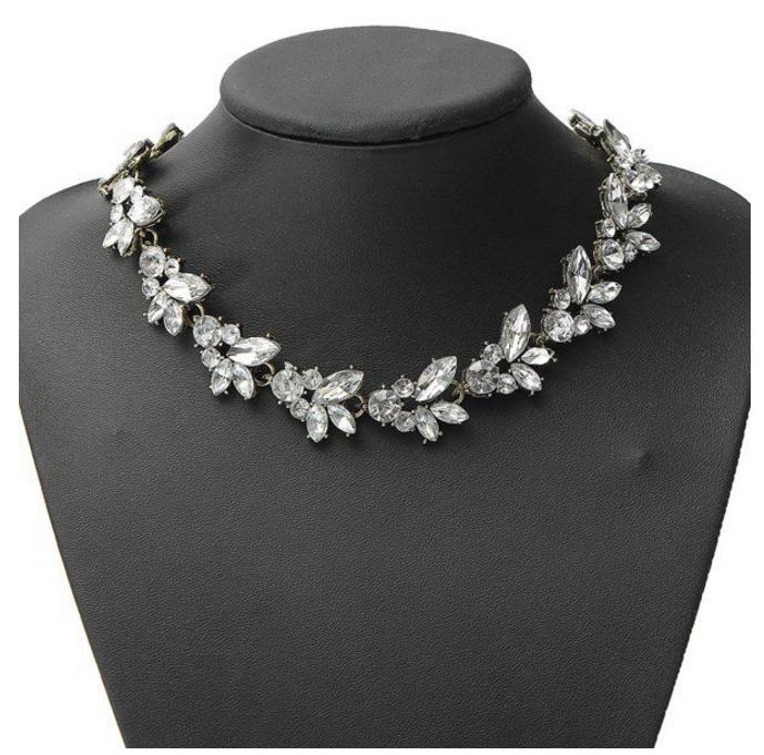 Crystal Leaf Bib Statement Necklace Metal Chain Choker