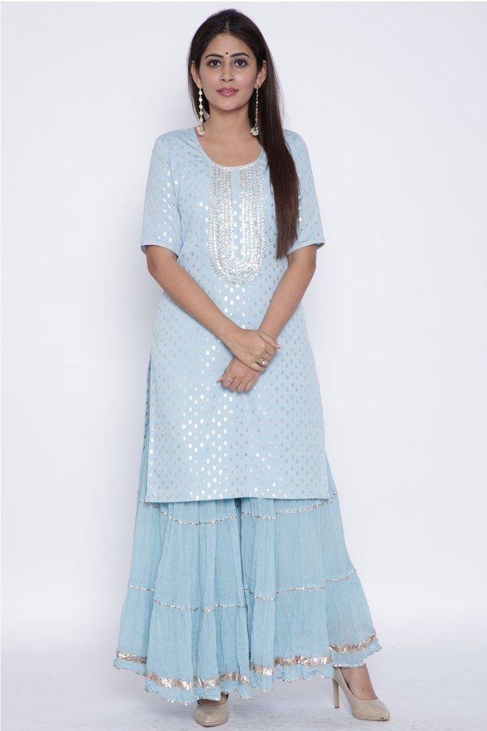 Blush Blue Silver Dot Short Kurti with Crushed Sharara #shararadesigns