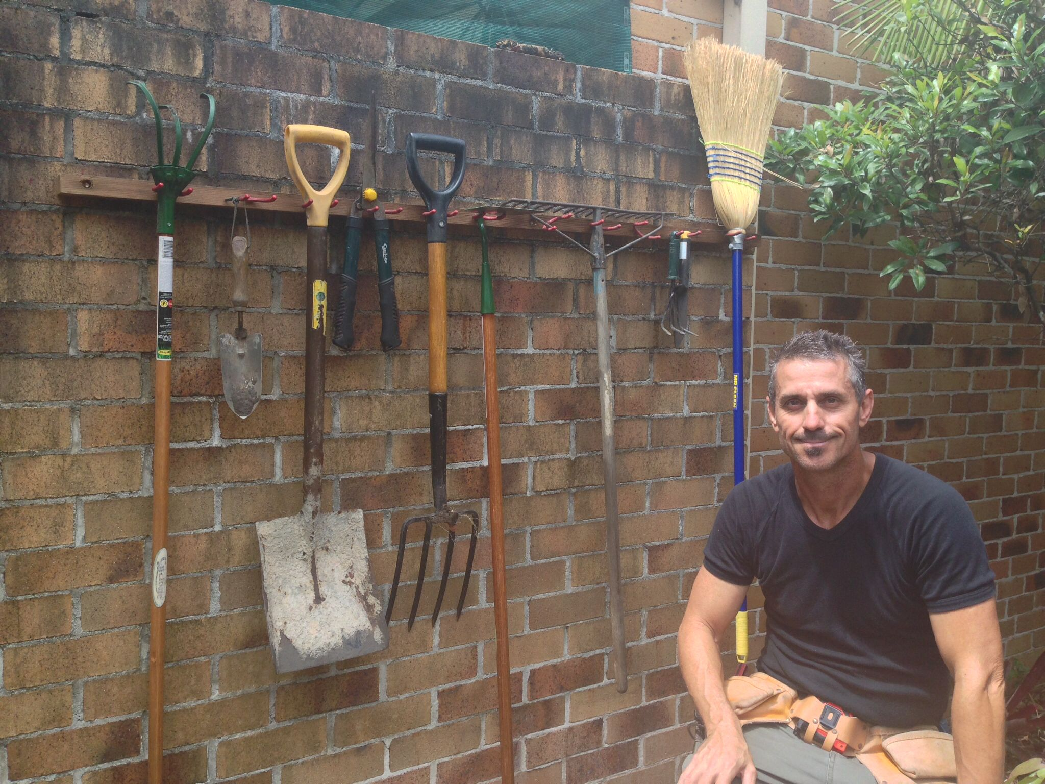Quick and easy garden tool holder. Great weekend project! Www.greenwoodfarm@youtube.com.au