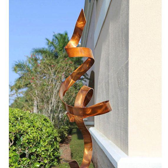 Large Modern Garden Sculptures: Abstract Metal Garden Art, Modern Indoor Outdoor Sculpture
