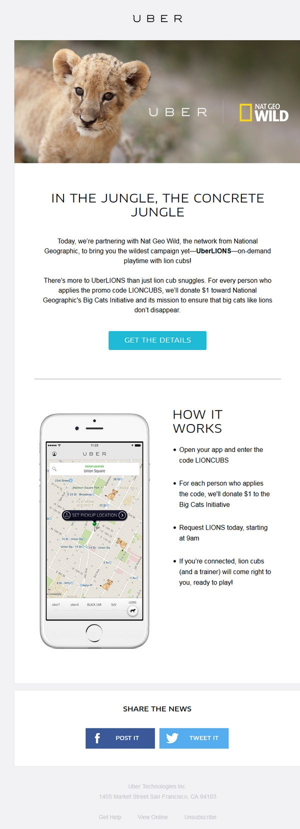Uber's April Fools 2015 email to NYC market