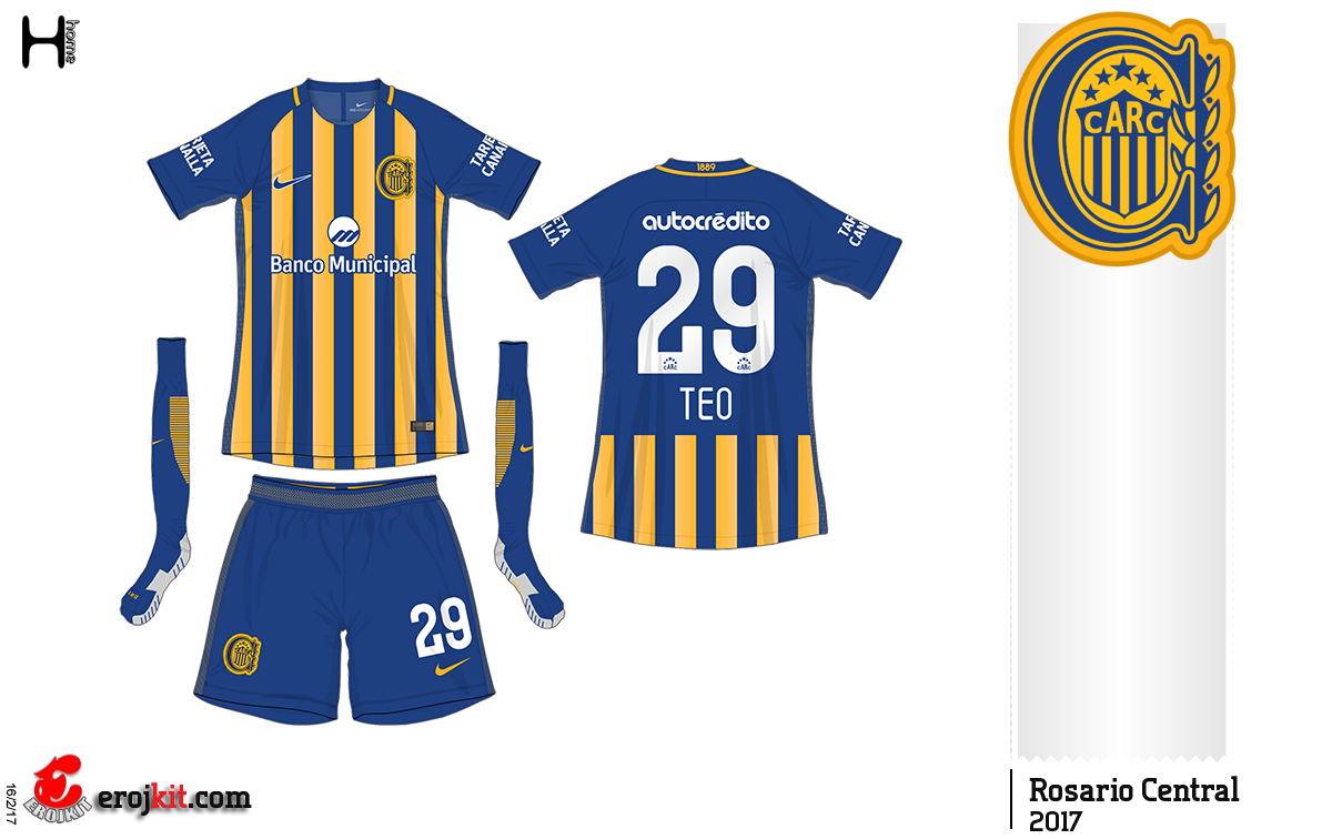 6eb89f77f Rosario Central of Argentina home kit for 2017.