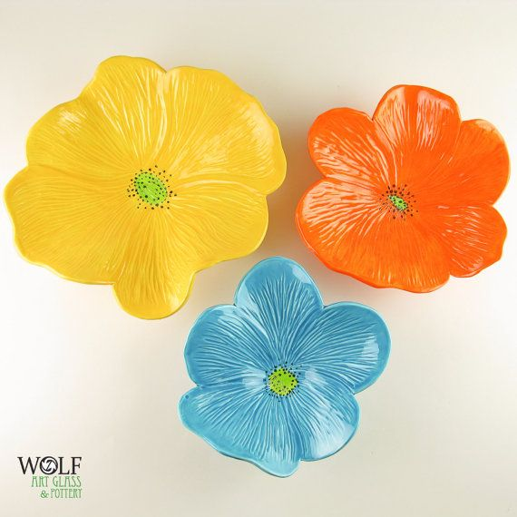 Ceramic Wall Art Bright Yellow, Orange and Turquoise Poppy Flower ...