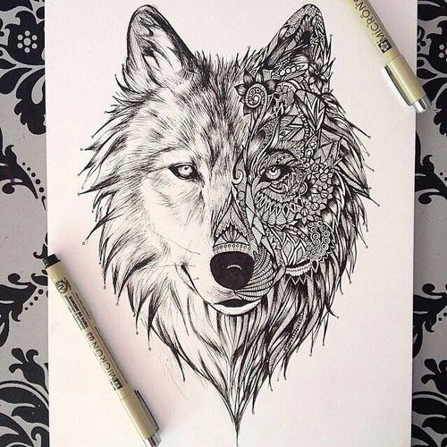 I D Absolutely Love This Wolf Mandala As A Tattoo Reminds Me Of The Tale Of Two Wolfs Animal Tattoos Wolf Drawing Wolf Drawing Tattoo