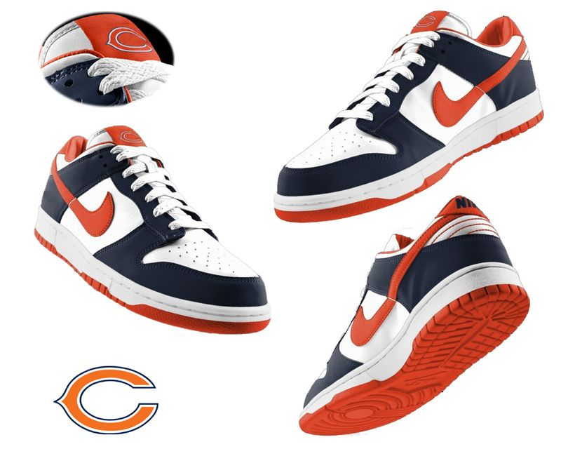 231587ad Mens Nike Chicago Bears white blue Dunk Shoes ID:55410607$65 ...