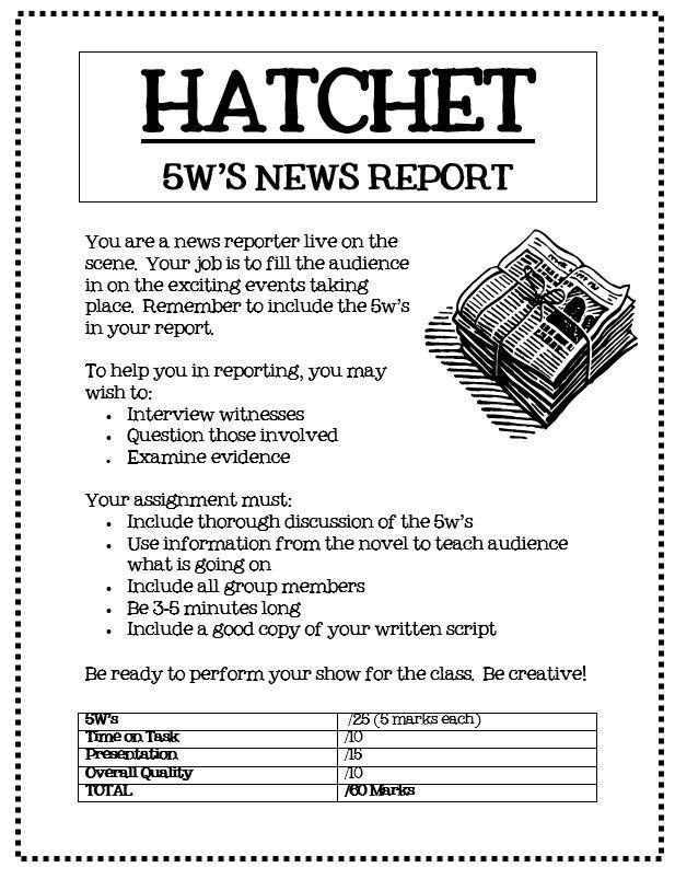 Hatchet 5w Newspaper Reports Hatchet Novel Study Hatchet Novel Novel Studies