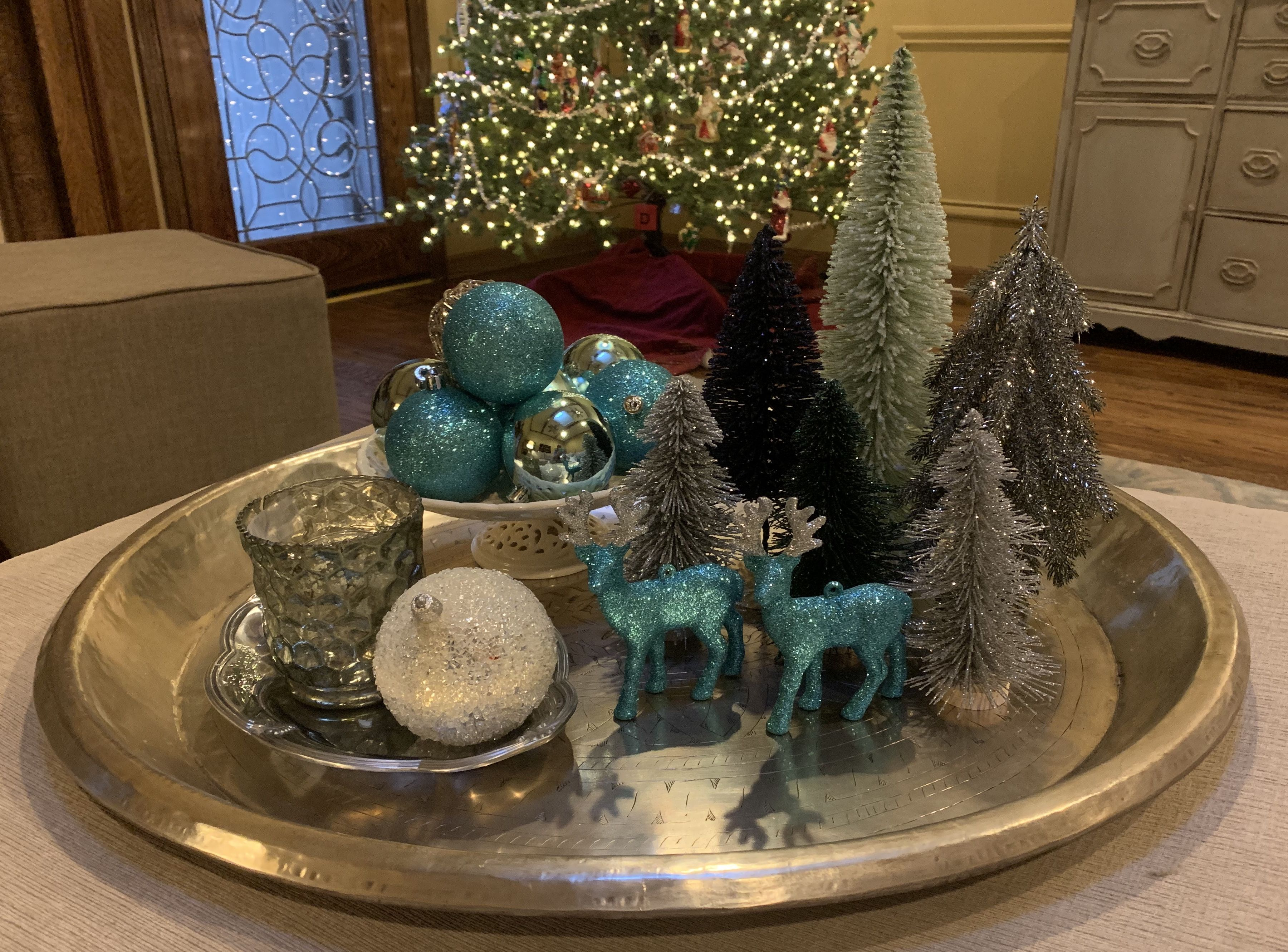 Coffee Table Or Dining Table Bottle Brush Trees Tray Decor Decorating Coffee Tables Table Decorations