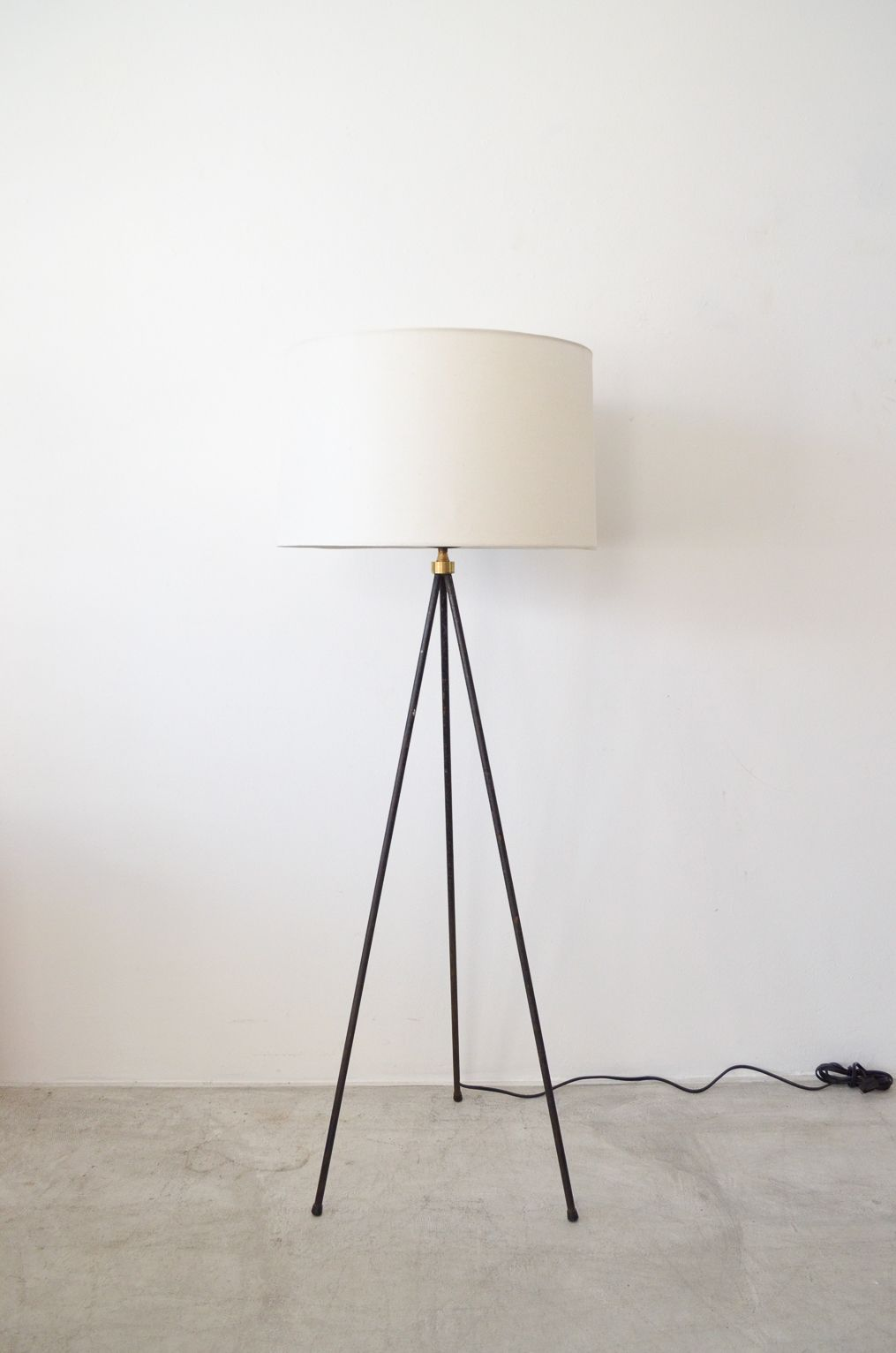 Iron and Brass Tripod Floor Lamp In the manner of T.H. Robsjohns ...