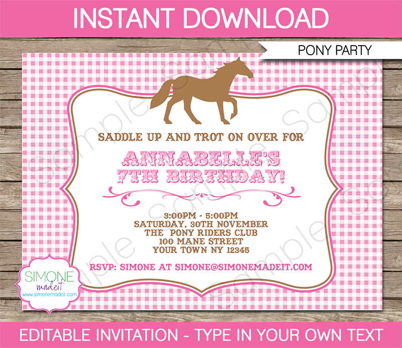 Horse Or Pony Party Invitations Template Ellies 3rd Pinterest