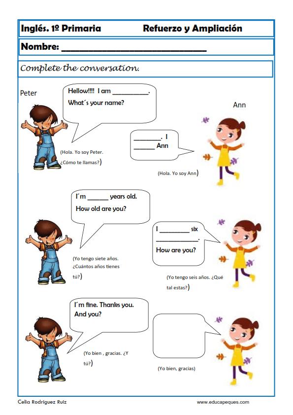 Resultado de imagen para presentacion personal para niños en ingles ...