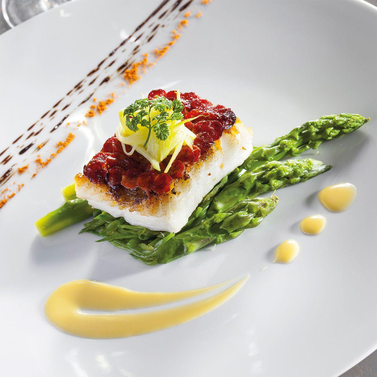 Pav de turbot en cailles de chorizo l gumes primeurs et - Dressage des plats en cuisine ...