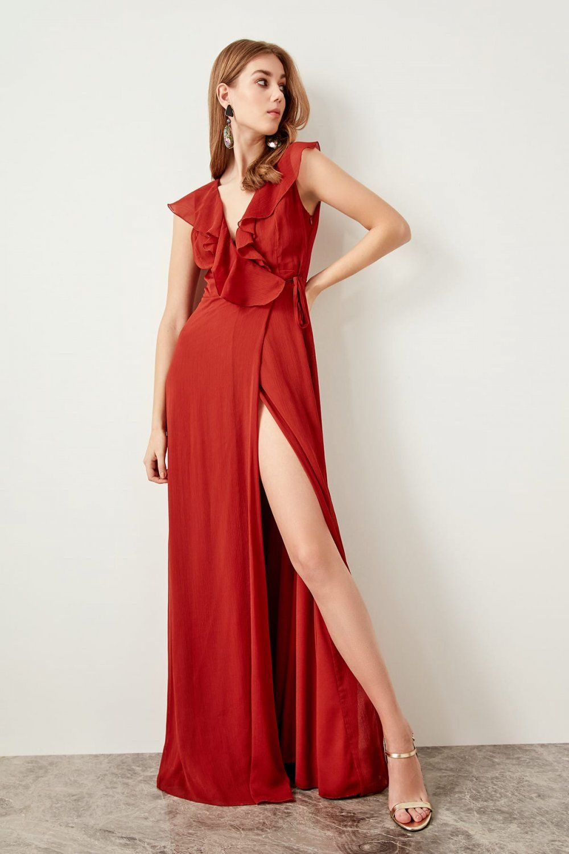 Trendyolmilla Kahverengi Tarcin Yaka Detayli Anvelop Uzun Abiye Elbise Elbisebul The Dress Aksamustu Giysileri Elbise