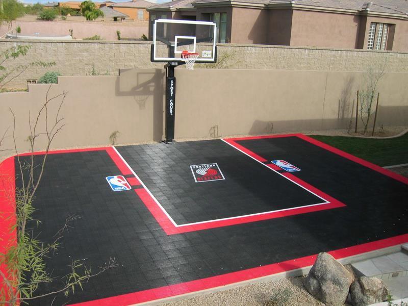 Backyard basketball court portland trailblazers sport for Sports courts for backyards