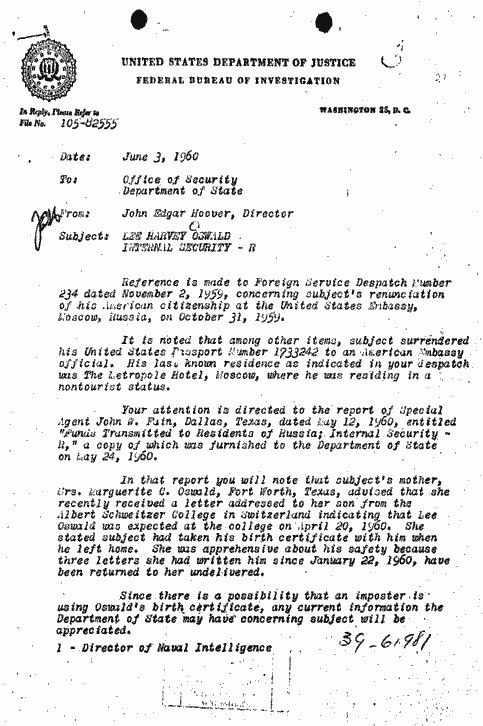 This is a memo from JEdgar Hoover to the department of state