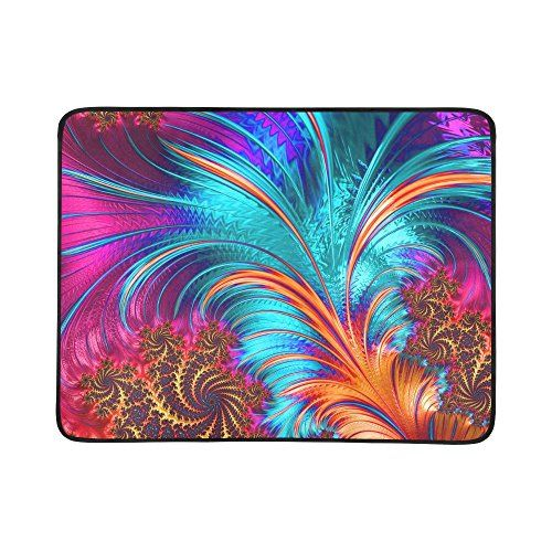 Artsadd Personalized Beach Mats Colorful Feather Pattern Outdoor Beach Hiking Grass Travelling Camping Mat Blanket 78 X 60 ** Check out the image by visiting the link.