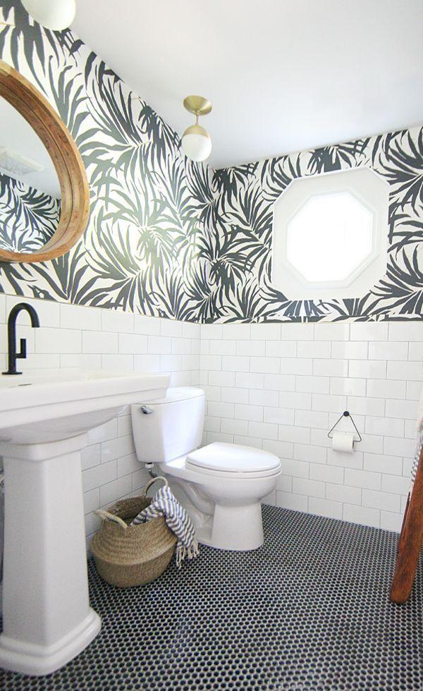Basement Bathroom Makeover Update Bathroom Makeover Black And White Tiles Bathroom White Bathroom Tiles