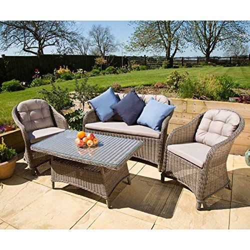 Florida Rattan Sofa Set 4 Seater Garden Furniture Set Including 2 Rattan Armchairs 1 Rattan 2 Person Terrace Furniture Rattan Furniture Set Outdoor Furniture