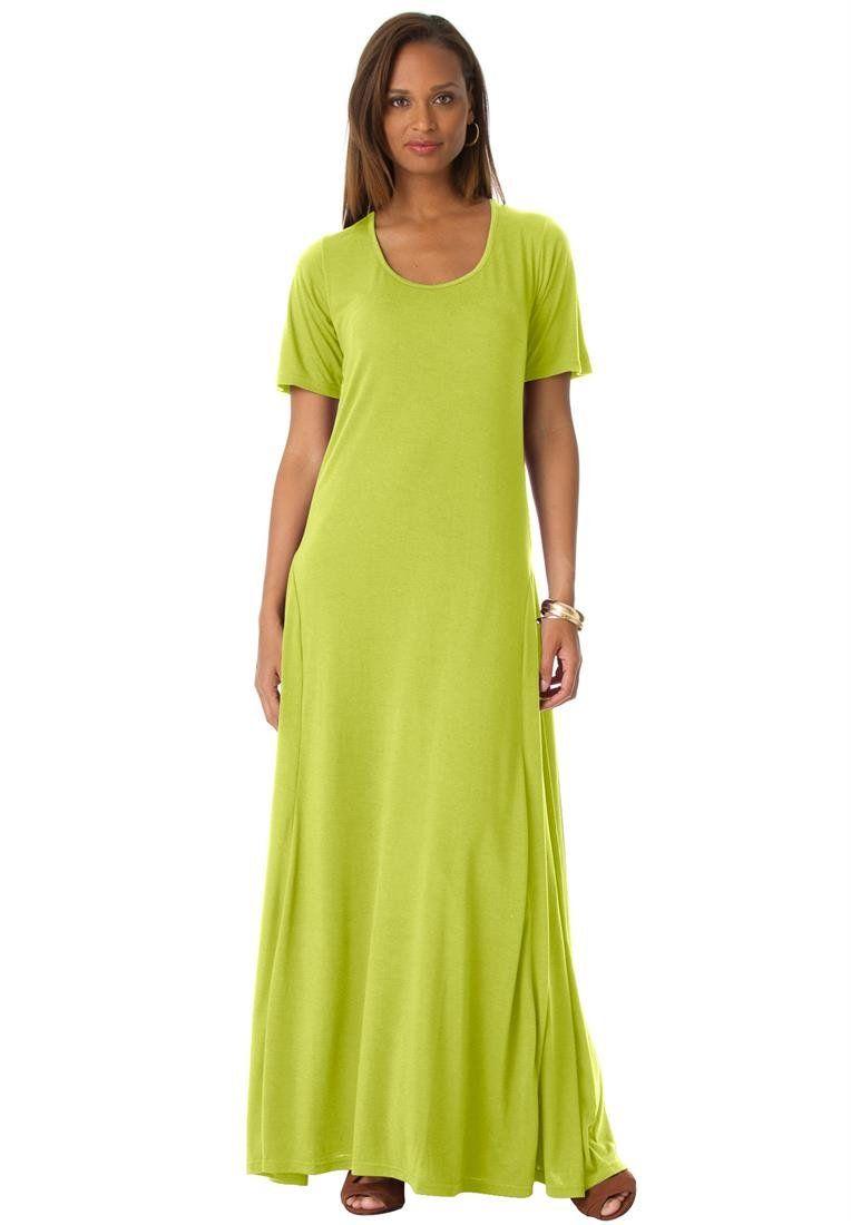 e1e0256ed0b Jessica London Women s Plus Size Tee Shirt Maxi Dress Green Lime