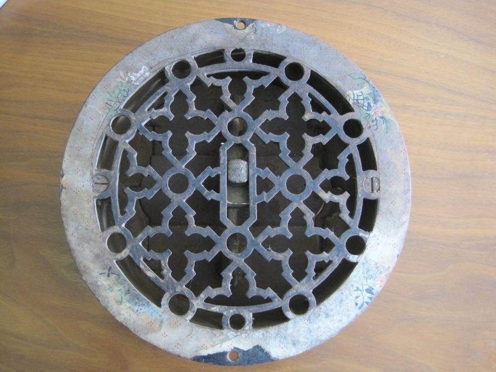 Antique Victorian Cast Iron Floor Register Round
