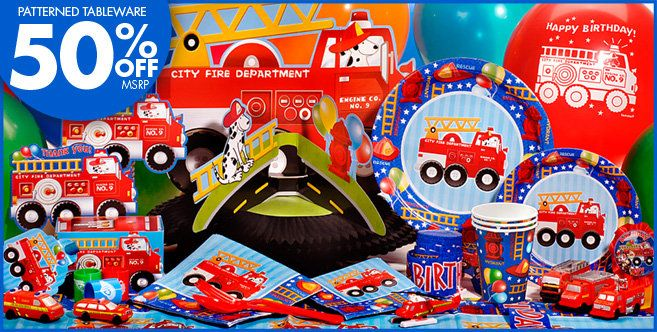 Fire Engine Party Supplies - Fire Engine Birthday - Party City (balloons, tattoos, plates, napkins...)