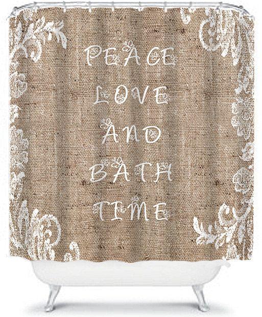 Beautiful Burlap Shower Curtain Lace Peace by xOnceUponADesignx ...