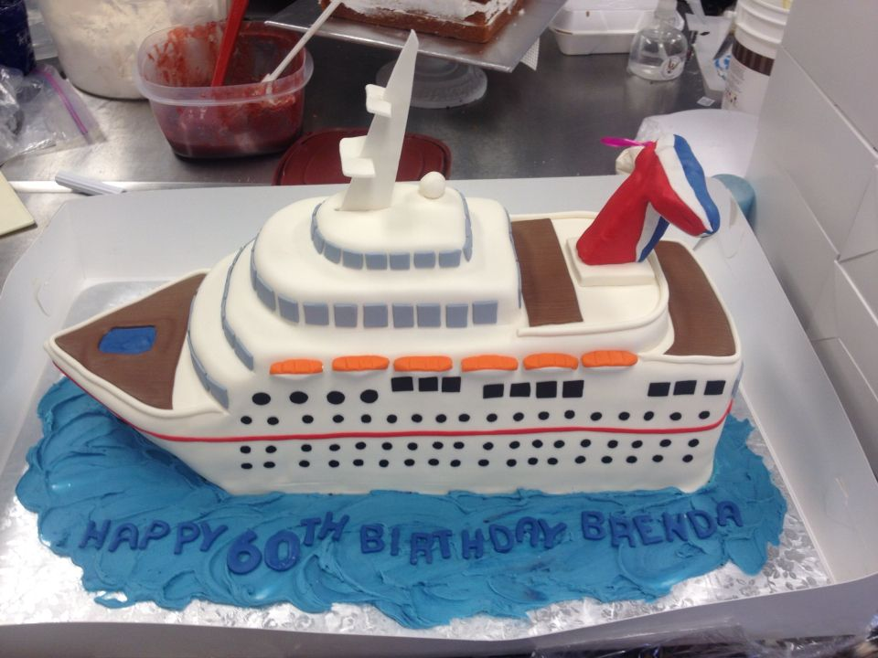 Cruise ship birthday cake for a lady who loves to cruise Birthday