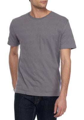 Red Camel Smoky Gray Short Sleeve Textured Stripe Tee Shirt