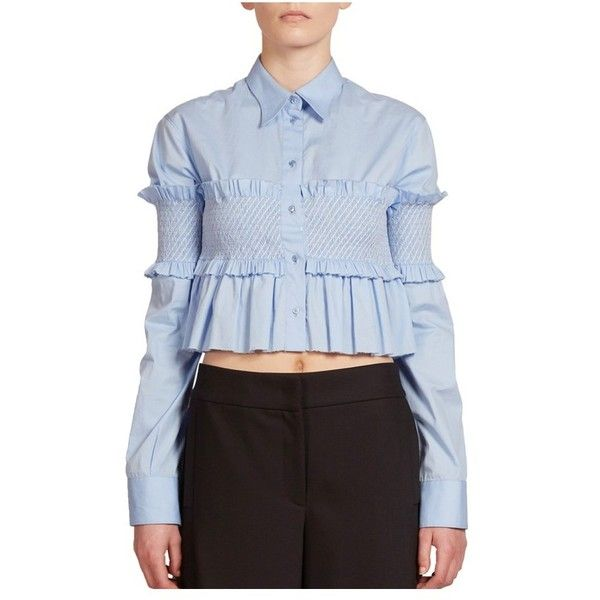 Cedric Charlier Smocked Cropped Top ($995) ❤ liked on Polyvore featuring tops, blouses, blue, button-down shirt, blue button up shirt, crop top, flounce tops and button up tops