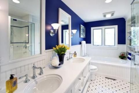 Transitional bathroom with white framed windows and doors. #designmine