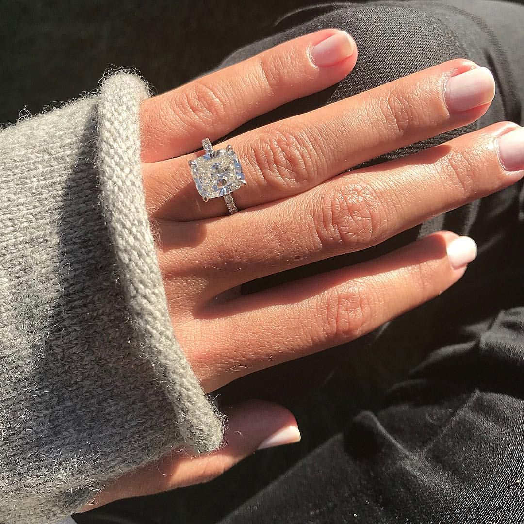 So My Client Sends Me This Pic After They Get Engaged And Says I Can T Take My Eyes Off This A Cushion Diamond Ring 14k Engagement Ring Unique Engagement Rings
