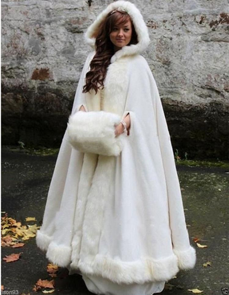 1e86b62ac26 Bridal Cape Wedding Cloaks Hooded with Faux Fur Trim Warm Adult Winter For  Winter Bridal Wraps