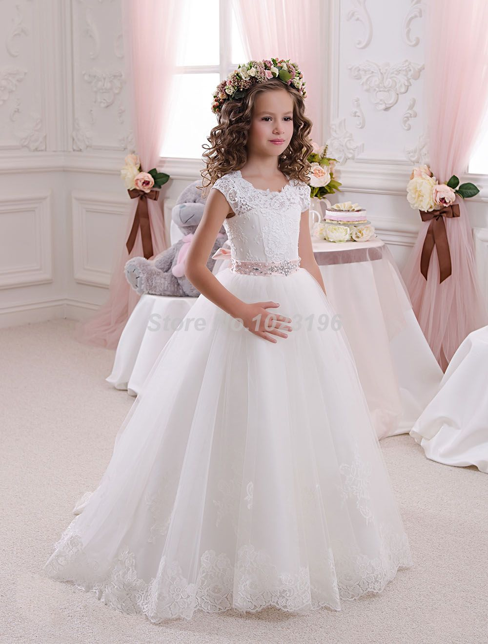 Wedding dresses for little girls 2017 pentelei cheap with long hot pretty scoop ivory white lace flower girls dresses 2016 ball gown belt floor length girls ombrellifo Image collections