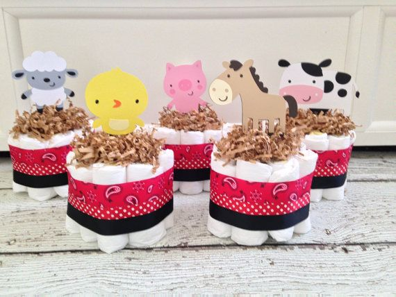 Set Of 5 Mini Farm Themed Diaper Cakes, Farm Baby Shower Centerpieces, Farm  Baby